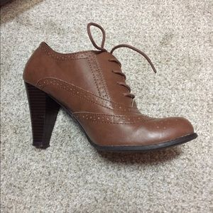 Oxford shoes high heels brown vintage laces